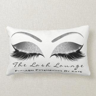 Silver Gray Glitter White Makeup Lashes Beauty Lumbar Pillow