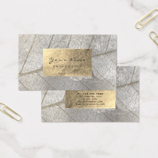 Silver Gray Gold Foil Botanical Cement Grungy Business Card