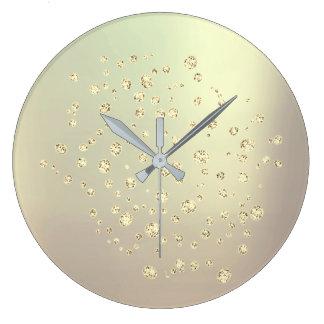 Silver Gray Gold Foxier Metallic Swarovski Crystal Large Clock