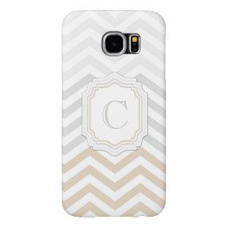 Silver Gray Gold Monogram Chevron Samsung Galaxy S6 Cases