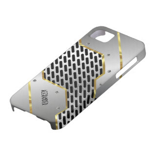 Silver Gray & Gold Shiny Metallic Look iPhone 5 Covers