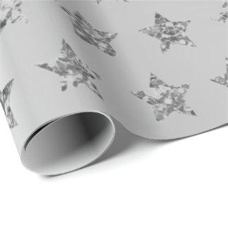 Silver Gray Graphite Metallic Glitter VIP Stars Wrapping Paper