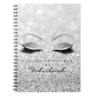Silver Gray Lashes Glitter Eyes Makeup Beauty1 Spiral Notebook