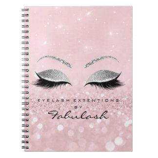 Silver Gray Lashes Glitter Eyes Makeup Pink Rose Notebook