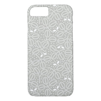 Silver Gray Leaf Pattern iPhone 7 case