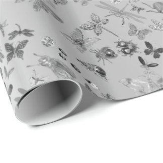Silver Gray Meadow Butterfly Insects Gems Diamond Wrapping Paper