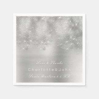 Silver Gray Metal White Glitter Bridal Sweet Girly Napkin