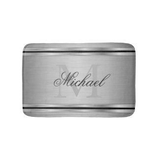 Silver Gray Metalic Pattern Monogram Bath Mat