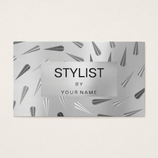 Silver Gray Metallic Abstract Steel Geometry Spike Business Card