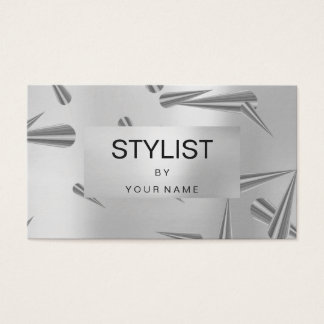 Silver Gray Metallic Abstract Steel Geometry VIP Business Card