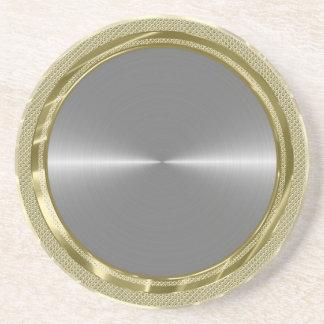Silver Gray Metallic Design Stainless Steel Look Coaster