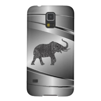 Silver Gray Metallic Floral Elephant Galaxy S5 Case