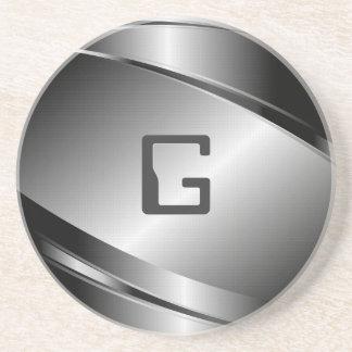 Silver Gray Metallic Look-Stainless Steel Pattern Coaster