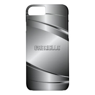 Silver Gray Metallic Look-Stainless Steel Pattern iPhone 7 Case