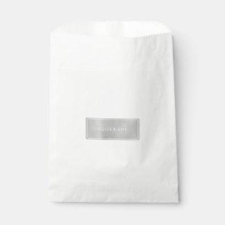 Silver Gray Metallic Minimal Rectangular Gift Bag