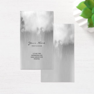 Silver Gray Metallic Rain Cloud Ombre Minimal VIP Business Card