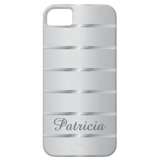 Silver Gray Metallic Stripes  Name iPhone 5 Cases