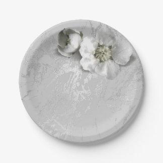 Silver Gray Metallic White Jasmine Apple Flower Paper Plate