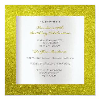 Silver Gray Minimal Birthday Yellow Lemon Glitter Card