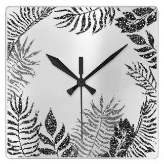 Silver Gray Minimal Black Glitter Metallic Botanic Square Wall Clock