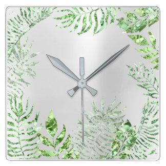 Silver Gray Mint Floral Glitter Metallic Botanic Square Wall Clock