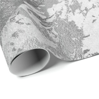 Silver Gray Monochrom Marble Shiny Metallic VIP Wrapping Paper