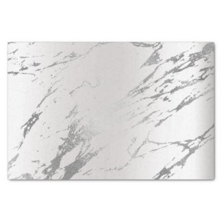 Silver Gray Monochromatic Marble Strokes Abstract Tissue Paper