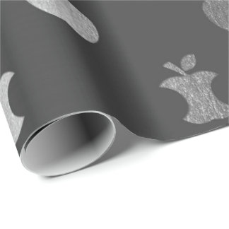 Silver Gray Monochromatic Metallic Apple Fruit Wrapping Paper
