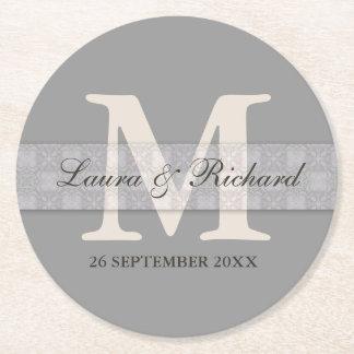 Silver Gray Monogram Bride Groom Names Round Paper Coaster