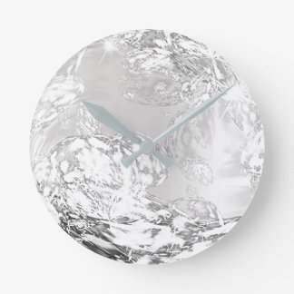 Silver Gray Ombre Gem Crystal Abstract Shape Round Clock