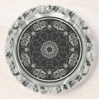 Silver Gray Ornate Celtic Design Coaster