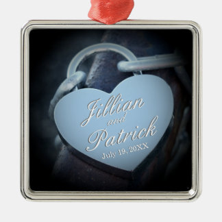Silver Gray Padlock Chain Link Lovers Silver-Colored Square Ornament