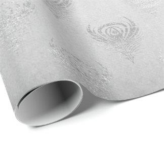 Silver Gray Peacock Metallic Shiny Monochromatic Wrapping Paper