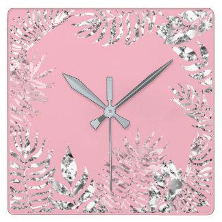 Silver Gray Pink Pastel Palm Botanical Metallic Square Wall Clock