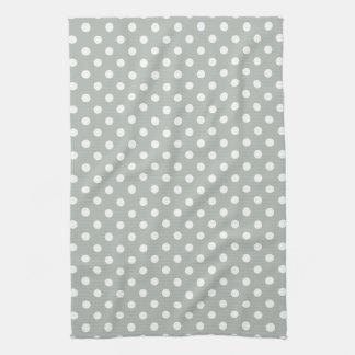 Silver Gray Polka Dot Pattern Kitchen Towels
