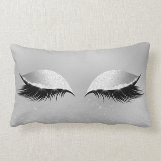 Silver Gray Princess Beauty Lashes Glitter Makeup Lumbar Pillow