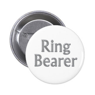 Silver Gray Ring Bearer Wedding Button