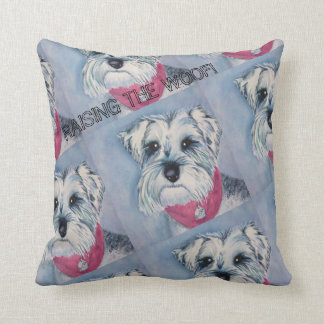 SILVER GRAY SCHNAUZER THROW PILLOW