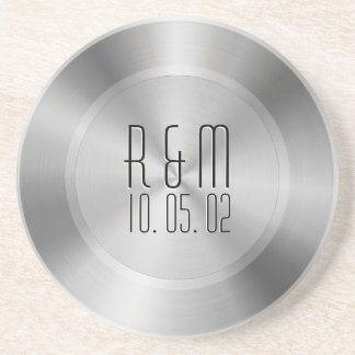 Silver Gray Stainless Steel 2 Look Monogram Coaster