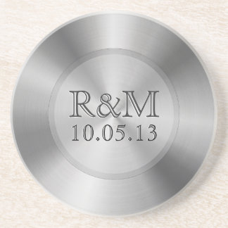 Silver Gray Stainless Steel Look Monogram Coaster