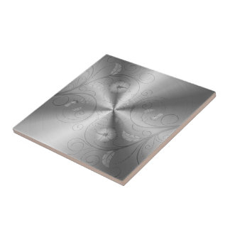 Silver Gray Stainless Steel With Floral Design Tile