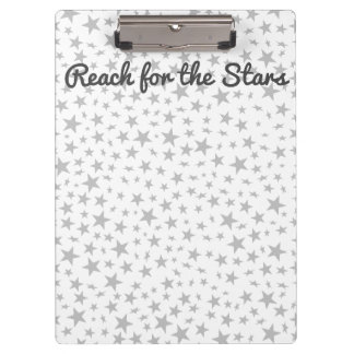 Silver Gray Stars Print Pattern Personalized Clipboard