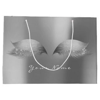 Silver Gray Steel Monochrom  Lashes Eyes Makeup Large Gift Bag