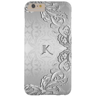 Silver Gray Swirly Monogram Barely There iPhone 6 Plus Case