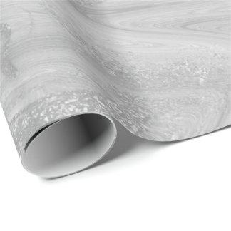 Silver Gray White Marble Molten Metallic Shiny Wrapping Paper