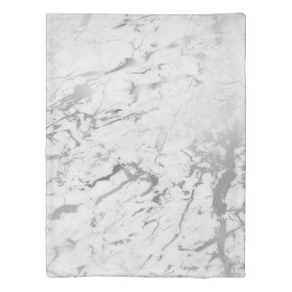 Silver Gray White Marble Stone Abstract Carrara Duvet Cover