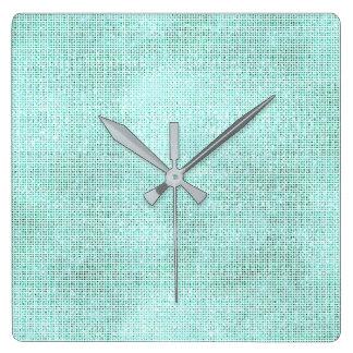 Silver Gray White Sequin Metallic Aqua Beach Clock