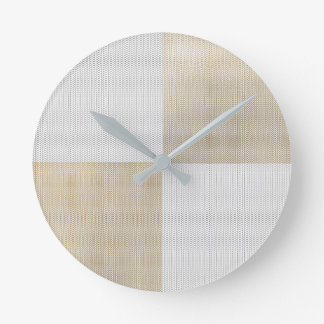 Silver GraySepia Gold Minimal Mesh Conceptual Geom Round Clock