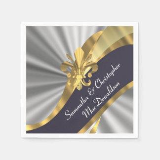 Silver grey and gold fleur de lys paper napkins