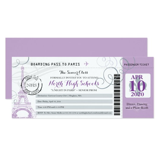 Silver Grey and Purple Night in Paris School Prom Card